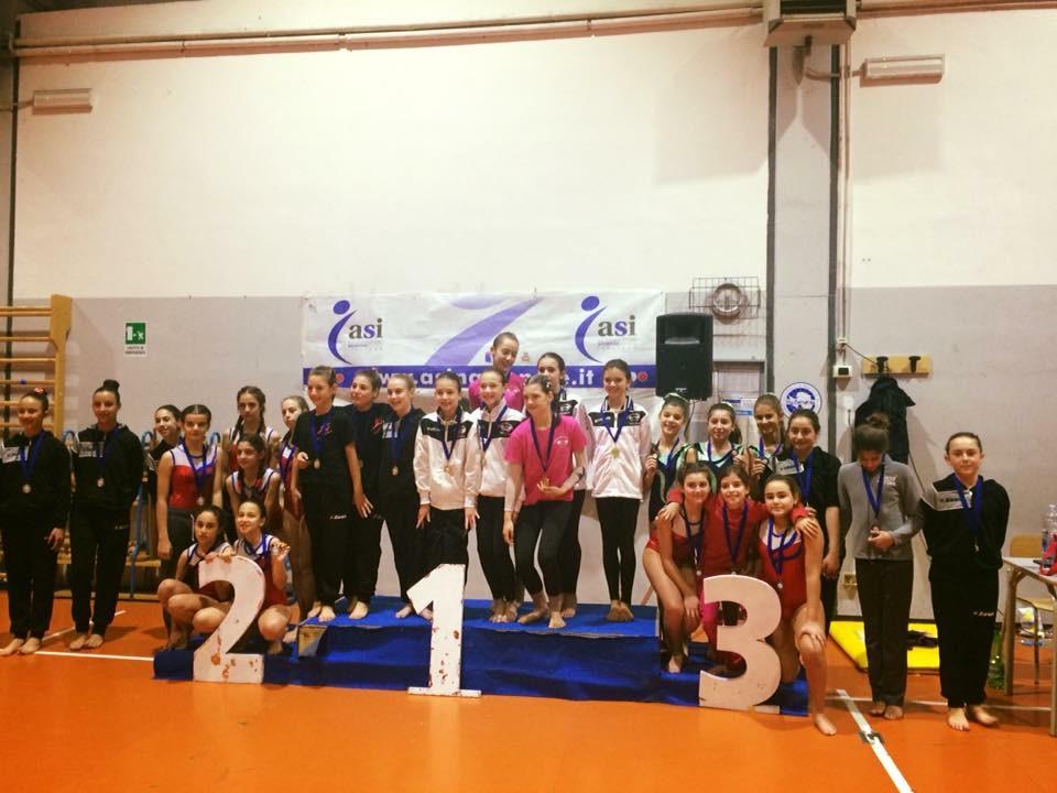 Le ginnaste della categoria Allieve della Minnie Gym al Trofeo Arcobaleno