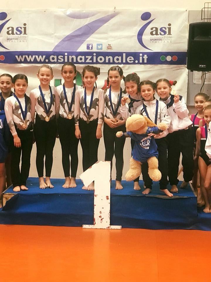 Le ginnaste della categoria Pulcine della Minnie Gym al Trofeo Arcobaleno