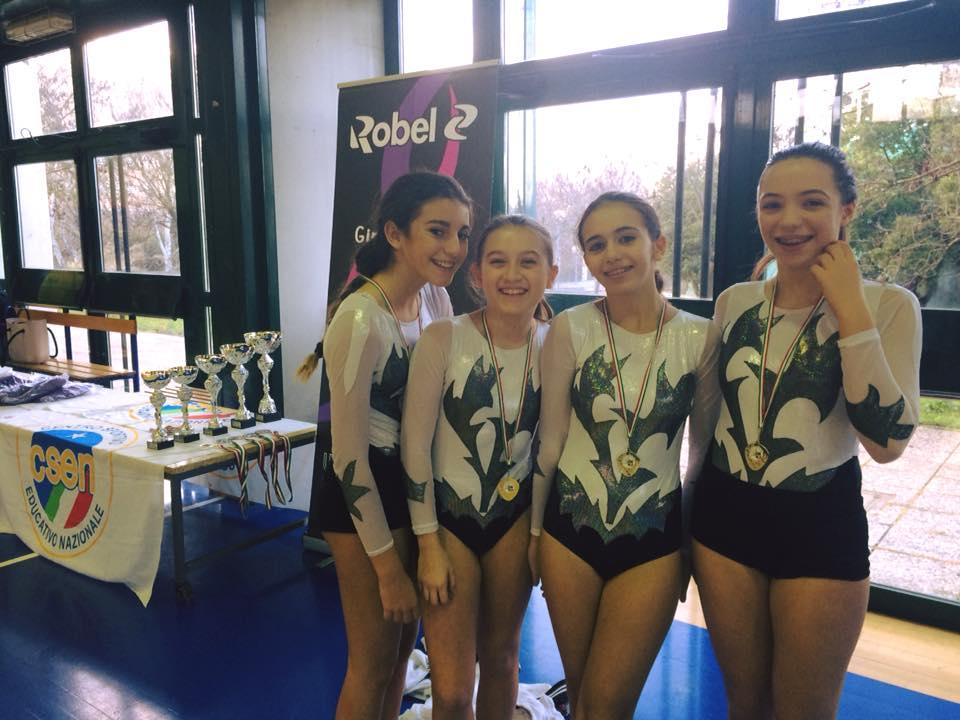 Le ginnaste della categoria Junior A della Minnie Gym al Cup